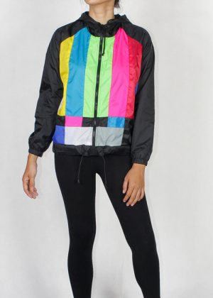 Tv Color Bar Windbreaker Jacket Women Front