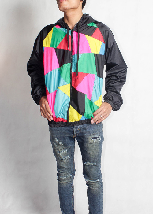Color Block Black Hood Windbreaker