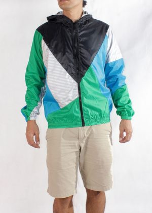Black Hood Green Blue Windbreaker Jacket Men
