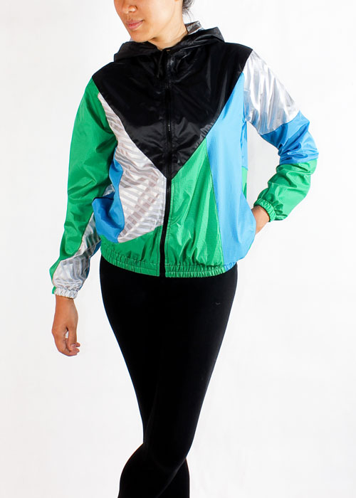 Black Hood Green Blue Windbreaker Jacket Women