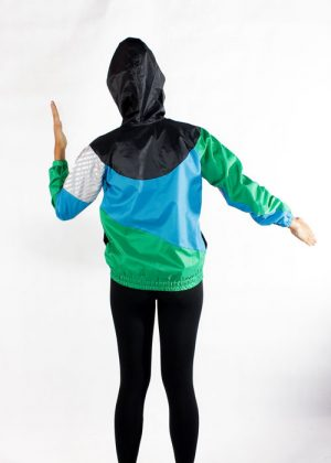 Black Hood Green Blue Windbreaker Jacket Women Back