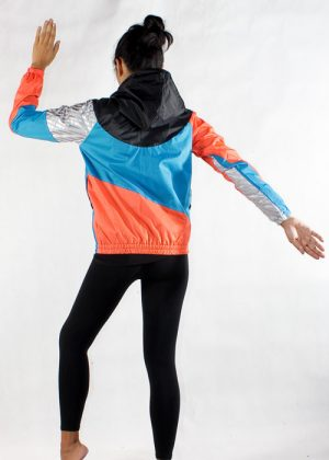 Black Hood Orange Blue Windbreaker Jacket Women Back