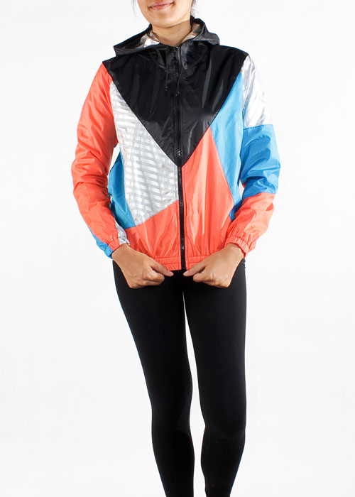 Black Hood Orange Blue Windbreaker Jacket Women Front