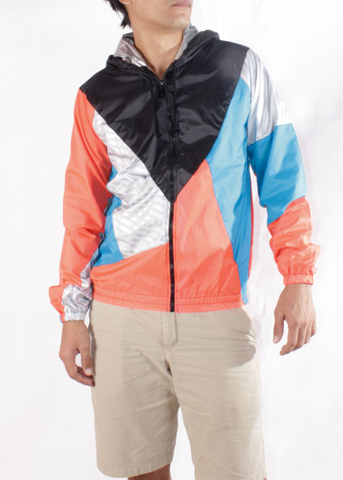 Black Hood Orange Blue Windbreaker Jacket Men Front