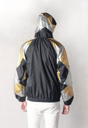 Gold & Silver Patchwork Windbreaker Back