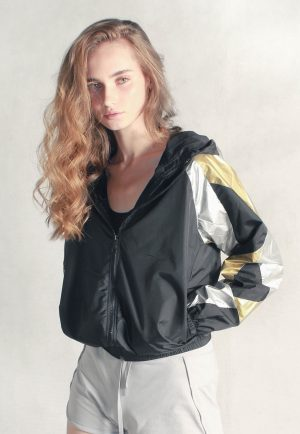 Gold & Silver Patchwork Windbreaker Women