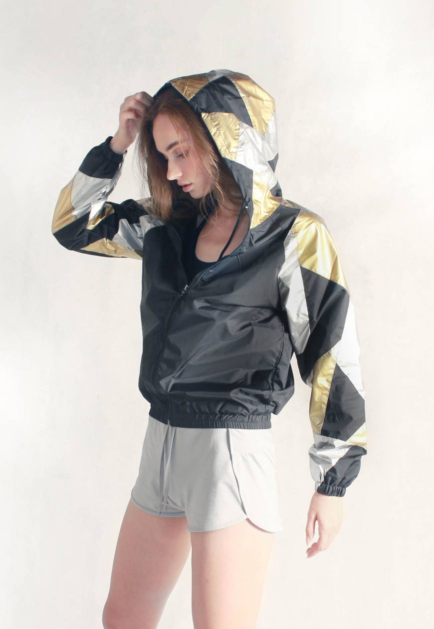 Gold & Silver Patchwork Windbreaker Women Side