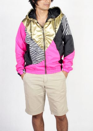 Gold hood pink black windbreaker men