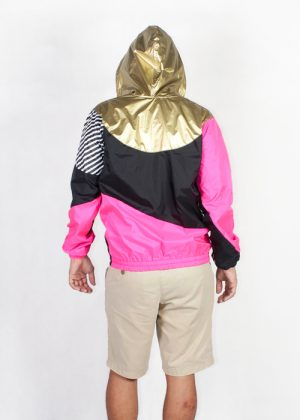 Gold hood pink black windbreaker men back