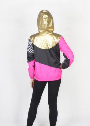 Gold hood pink black windbreaker women