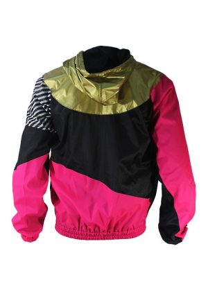 Gold hood pink black windbreaker back