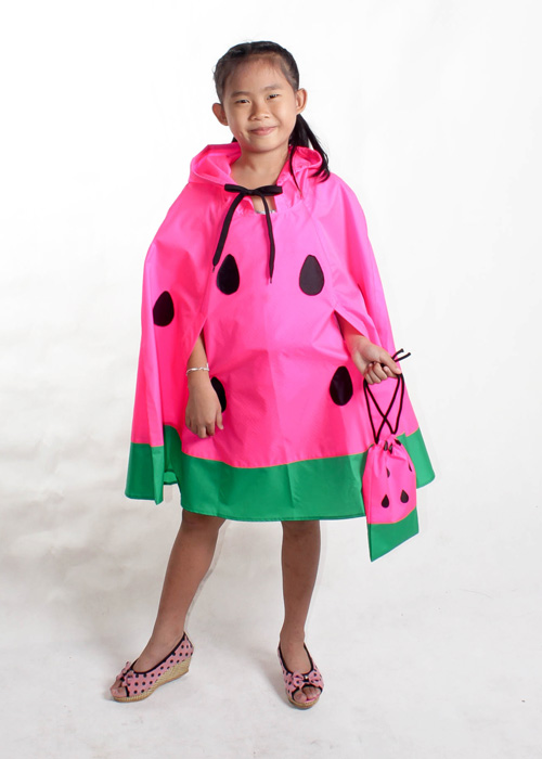 Kids watermelon rain poncho pink