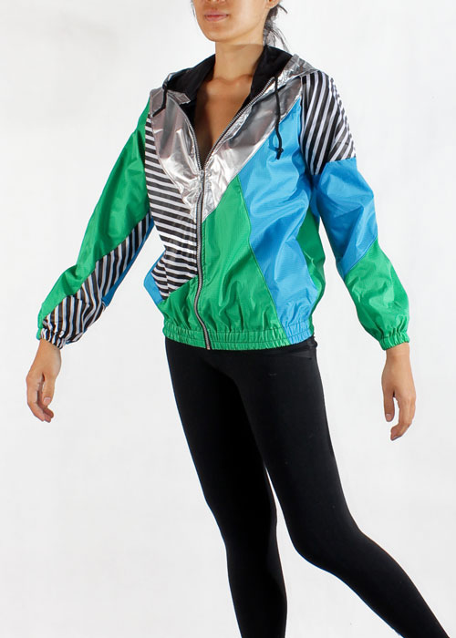 Silver Hood Green Blue Windbreaker Jacket Men