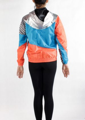 Silver Hood Orange Blue Windbreaker Jacket Women Back