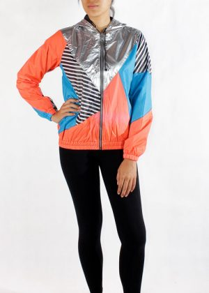 Silver Hood Orange Blue Windbreaker Jacket Women Front