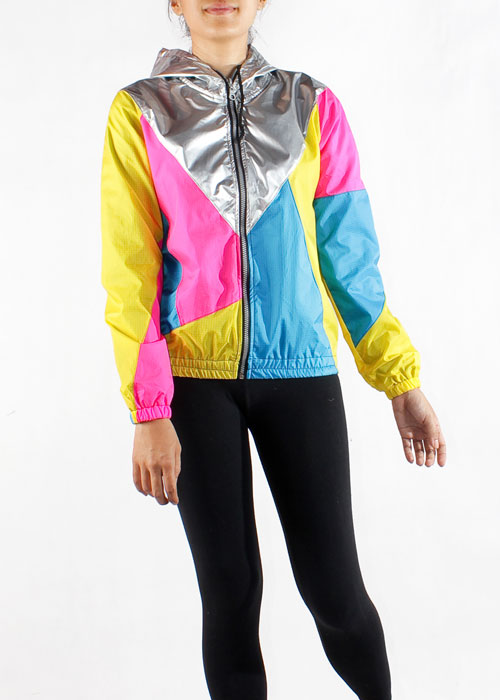 Yellow Pink Silver Hood Windbreaker Women