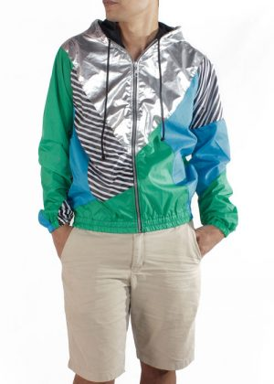 Silver Hood Green Blue Windbreaker Jacket Men