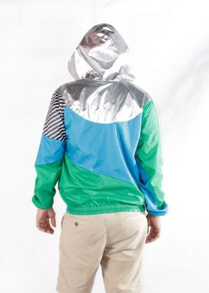 Silver Hood Green Blue Windbreaker Jacket Men back