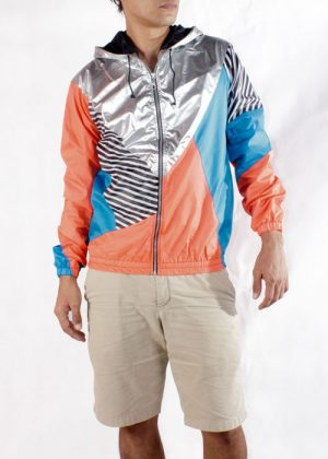 Silver Hood Orange Blue Windbreaker Jacket Men Front
