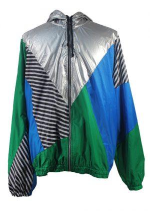 Silver Hood Green Blue Windbreaker Jacket