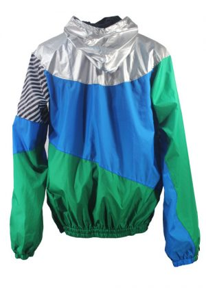 Silver Hood Green Blue Windbreaker Jacket Back