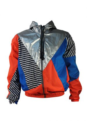 Silver Hood Orange Blue Windbreaker Jacket Front