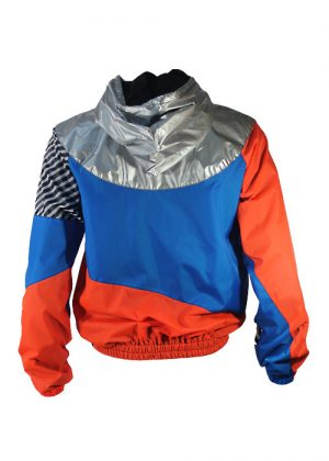 Silver Hood Orange Blue Windbreaker Jacket Back