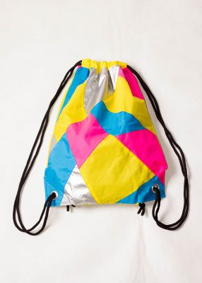 Yellow Pink Silver Drawstring Backpack