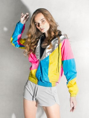 Yellow-Pink-Silver-Hood-Windbreaker-