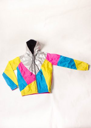 Yellow-Pink-Silver-Hood-Windbreaker-Front Zoom