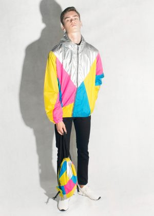 Yellow-Pink-Silver-Hood-Windbreaker-Men