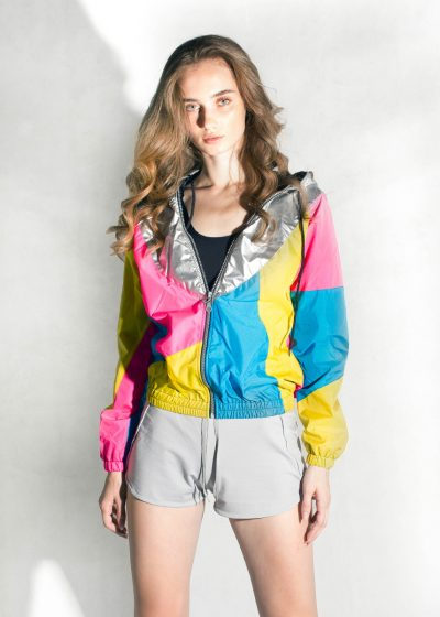 Yellow-Pink-Silver-Hood-Windbreaker-Women