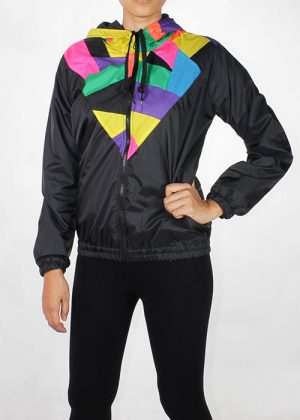 Patchwork Colorful Hood Windbreaker Women