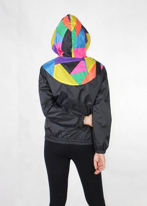 Patchwork Colorful Hood Windbreaker Women Back