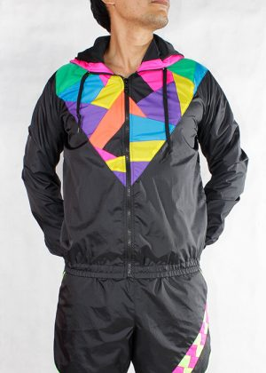 Patchwork Colorful Hood Windbreaker Men