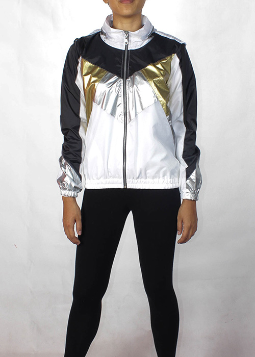Black& White Gold Silver Windbreaker Women