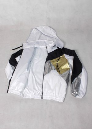 Black& White Gold Silver Windbreaker Zoom
