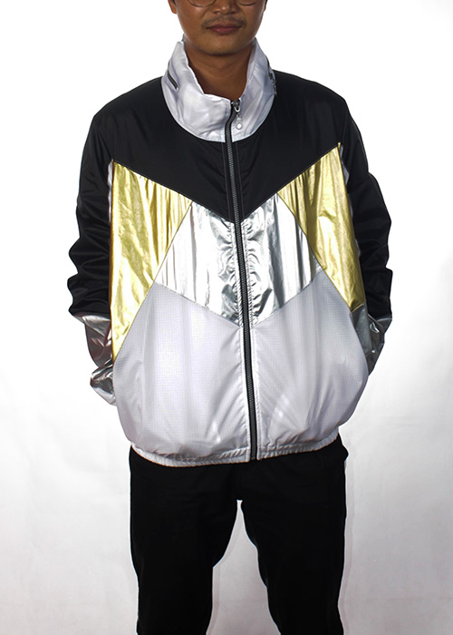 Black& White Gold Silver Windbreaker Men