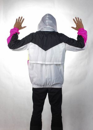 Black& White Neon Windbreaker Men back