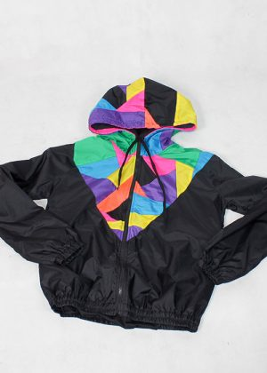 Patchwork Colorful Hood Windbreaker zoom 1