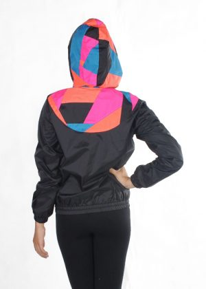 Patchwork Pink Orange Blue Hood Windbreaker Women B