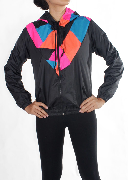 Patchwork Pink Orange Blue Hood Windbreaker Women F