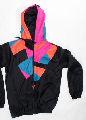 Patchwork Pink Orange Blue Hood WindbreakerFront
