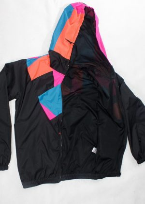 Patchwork Pink Orange Blue Hood Windbreaker zoom