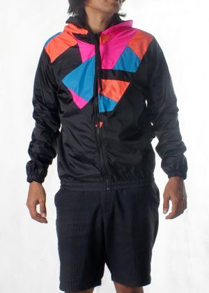 Patchwork Pink Orange Blue Hood Windbreaker Men F
