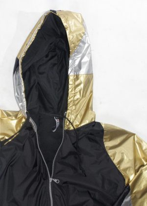 Gold & Silver Patchwork Windbreaker zoom hood