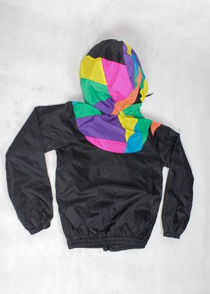 Patchwork Colorful Hood Windbreaker Back zoom