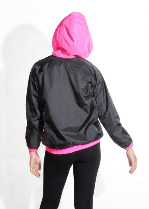 Pink Hood Jacket Women Back
