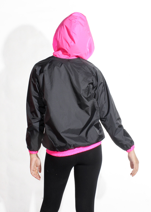 Pink Hood Windbreaker Jacket Women Back
