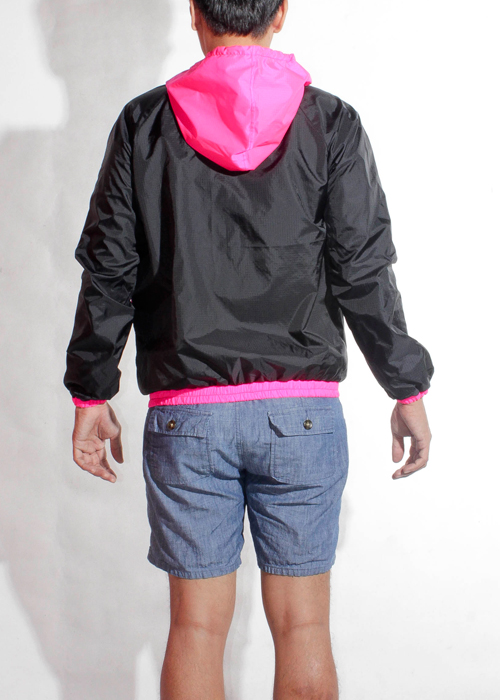 Pink Hood Windbreaker Jacket Men Back